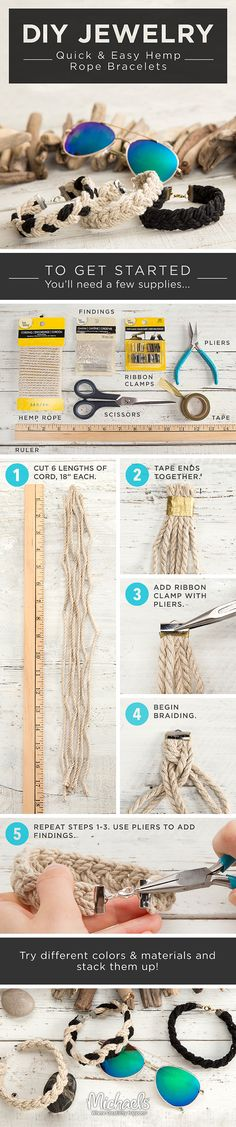 Create quick and easy DIY hemp rope bracelets