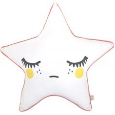 Rose in April kussen sleepy star yellow coral pink 50 cm