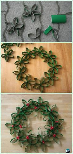 DIY Paper Roll Christmas Wreath Instructions- Christmas Wreath Craft Ideas Holiday Decoration