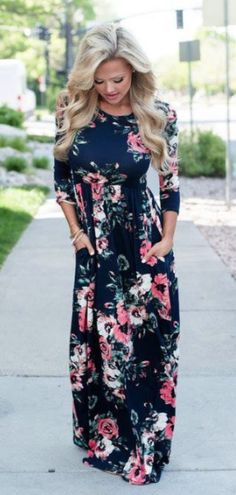 a9b04c8c76a Navy Floral Long Sleeve Maxi Dress Mommy and Me Dresses Womens Online  Boutique Navy Floral Maxi