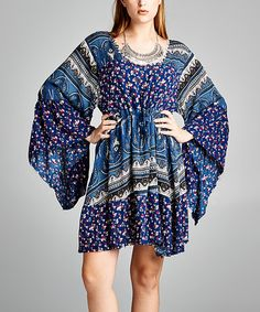 Another great find on #zulily! Blue & Black Patchwork Bell-Sleeve Dress - Plus #zulilyfinds