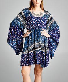 Loving this Blue & Black Patchwork Bell-Sleeve Dress - Plus on #zulily! #zulilyfinds
