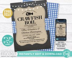 Crawfish Boil Invitations Party Invite Couple's Shower DOWNLOAD Blue Chalk Lobster Engagement Couple's Shower Crab Dinner Printable WCWE033 Printing Websites, Printing Services, Online Printing, Engagement Invitations, Party Invitations, Invite, Event Page, Couple Shower, Photo Logo