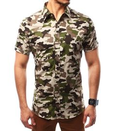 2018 New Men's Fashion Boutique Cotton Solid Color Collar Casual Busin – eosew Camouflage, Camo Shirts, Men Shirts, Army Shorts, Men's Fashion, Men Dress, Shirt Dress, Mens Winter Boots, Mens Clothing Styles