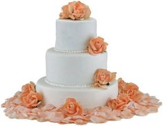 Peach Silk Rose Cake Flowers - Reception Decoration *** Want to know more, click on the image.