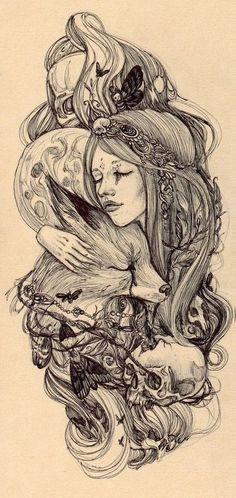 Love this as a tattoo would change the animals to an owl an elephant and a deer though.