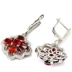 Hi End  Blood Ruby Gemstone Drop Earrings & White  CZ Weimaraner Rescue   #Unbranded #DropDangle