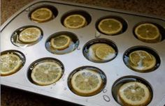 KITCHEN TIP:  Just in time for the warm weather! Add sliced lemons or limes to water in a muffin in. After frozen you can pop them out and store them in a freezer bag or container until you need them for your Summertime drinks!    Use muffin tins to make large ice cubes for pitchers. Can substitute different with fruits!