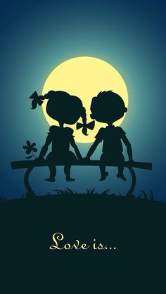 Moonlight And You Love Drawings, Art Drawings, Cute Love Wallpapers, Couple Cartoon, Beautiful Moon, Love Illustration, Couple Art, Love Images, Romantic Couples