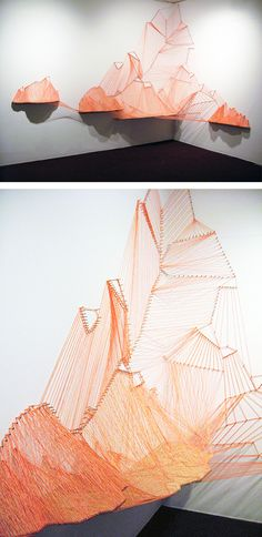 Aili Schmeltz - Goucher Glacier String Art Installation (via All Sorts of Pretty) Using string to create a sculpture. Lovely colors and play with lighting and shadows. Modern Art, Contemporary Art, Instalation Art, Graffiti Artwork, Illustration Art, Illustrations, Ideias Diy, Thread Art, Oeuvre D'art