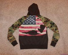 NWT Ralph Lauren Denim and Supply Camo Flag Logo Hoodie Sweatshirt L