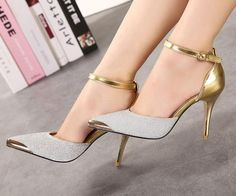 7293a3a6874 Women s Style Pumps Golden Sequined Pointed Toe Ankle Strap Stiletto Heel  Pumps Fall Fashion Outfits Women Fall Fashion Prom Dress Shoes Back To  School ...