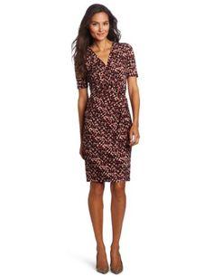 Evan Picone Women's Jersey 3/4 Sleeve Knot Waist Dress: Amazon.com: Clothing