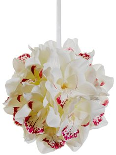 Wedding Cymbidium Orchid Kissing Ball in White with Fuchsia Highlights.how beautiful is this! Artificial Wedding Bouquets, Artificial Orchids, Silk Wedding Bouquets, Bridesmaid Bouquet, Wedding Flowers, Wedding Rings, Silk Orchids, Cymbidium Orchids, Fake Flowers