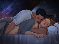 """""""I want to touch you first,"""" he said, his voice so guttural I barely recognized it. """"Just- let me touch you."""" Feyre and Rhysand in the attic bedroom. [Art by Cocotingo]"""