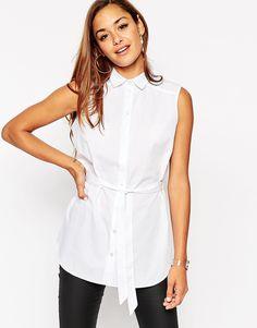 Image 1 - ASOS - Chemise sans manches coupe longue avec ceinture à nouer - Blanc