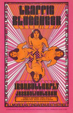 Fillmore East Concert Poster, Apr. 26 & 27, 1968 — Traffic, Blue Cheer, Iron Butterfly & Joshua Light Show — Art by David Byrd