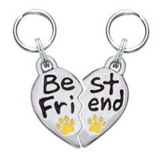 """Word Charm - Best Friend: $16.00, Featuring two charms, this is perfect for you or to give to your pup's four-legged best friend, or to keep one for yourself! Handcrafted in the U.S.A. of lead-free pewter. Each piece is 1"""" H X 5/8"""" W. Show the world your puppy is deeply loved!"""