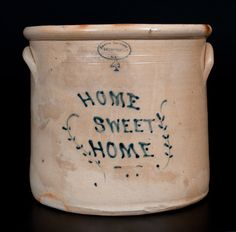 """Extremely Rare BROWN BROTHERS / HUNTINGTON / L.I. Stoneware Jar Inscribed """"Home Sweet Home""""Outstanding Brown Brothers Crock. Extremely Rare Four-Gallon Stoneware Crock with Cobalt Inscription """"HOME SWEET HOME,"""" Stamped """"BROWN BROTHER , / HUNTINGTON, LI,"""" New York State origin, circa 1870-1885. This iconic crock belongs to a small group of highly-prized """"epitaph crocks"""" produced at the Brown Brothers operation, believed to be the pottery's finest works."""