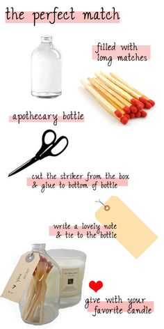 """""""the perfect match"""" engagement gift; love the bottle idea just for organizing the long matches!"""