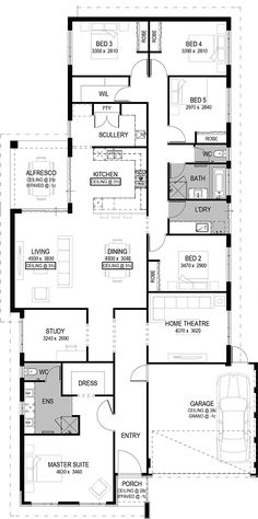 **bigger master suite The Montella Floorplan by National Homes Dream House Plans, House Floor Plans, My Dream Home, Home Design Floor Plans, Plan Design, Pool House Designs, Southern House Plans, House Blueprints, Sims House