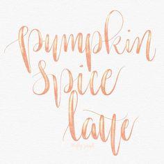Pumpkin Spice Latte - hand lettering modern calligraphy #lovelyletterschallenge #pumpkinspicelatte #☕️
