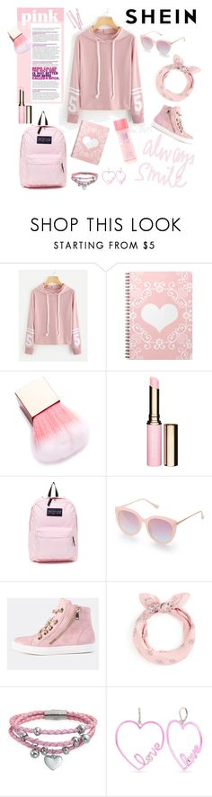 """""""Shein Varsity Striped Hoodie"""" by amelia-carnero ❤ liked on Polyvore featuring Clarins, JanSport, Bling Jewelry, Betsey Johnson, BOBBY, Pink, Sweater, hoodie and shein"""