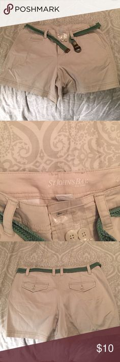 Khaki Shorts with Green Belt. Size 10. Khaki Shorts with Green Belt by St. John's Bay! NEVER WORN, extra buttons still attached. Size 10, great condition. St. John's Bay Shorts