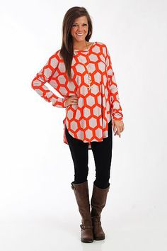 You DO NOT want to miss this tunic! This super soft top has a honeycomb pattern in orange on a taupe material, and we love the long length and dolman sleeves! Throw it on over leggings or skinny jeans for an outfit that's unbeatably comfy and cute, too! Clemson Football, Clemson Tigers, Mom Outfits, Fall Outfits, Cute Outfits, Dolman Top, Tunic Tops, Girl Fashion, Fashion Outfits