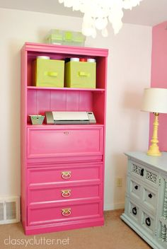 Love this dresser, the shelves on top are awesome. The lime green baskets are a nice touch.
