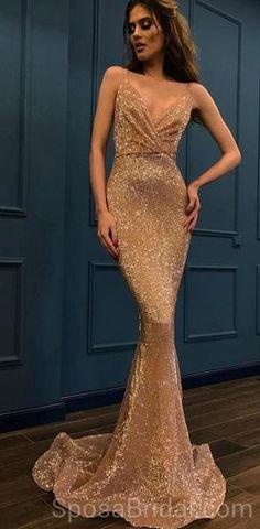 Spaghetti Straps Mermaid V -Neck Custom Long Elegant Sequin Fashion Prom  Dresses 56b4dcd1a3e2