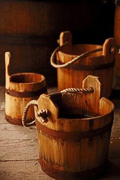Old wood buckets