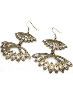 Gold Crystal Geometric Dangle Earrings - Sheinside.com