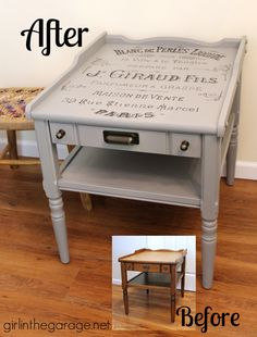 "Vintage table makeover with French perfume graphic {Themed Furniture Makeover Day}.  Also see 15 more ""Words and Letters"" themed furniture makeovers!  girlinthegarage.net"