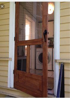 Wood Screen Door, Wooden Screen, Vintage Screen Doors, Room Screen, Metal Screen, Front Door With Screen, Vintage Doors, Craftsman Cottage, Craftsman Style