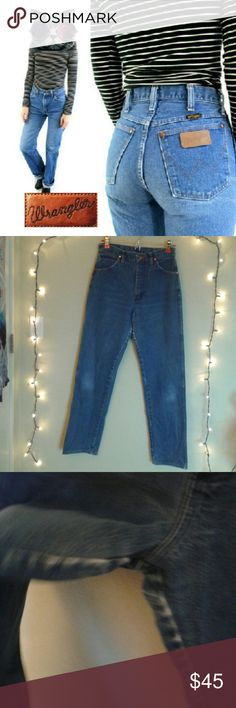 "Vintage Wrangler High Waisted Jeans 27x32 Cute mom jeans in very good condition. Rise is 12"", waist 27"", inseam 32"" & hips are 40"". Medium wash, 100% cotton. Vintage size is 9x32. Made in Mexico. These jeans are very durable and well made, a lot like the vintage Levi's jeans.  Tags: Brandy Melville, Urban Outfitters, American Apparel, Lee Wrangler Jeans Straight Leg"