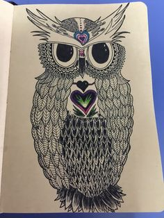 Drawing A Wise Owl Zentangle Black Ink