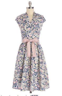 Modokurosu (ModCloth) vestido na altura do joelho vestido de Saudação cartão postal em Flores 1