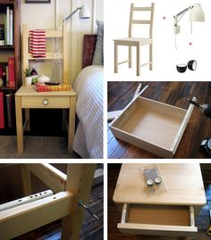 Bedside table/chair Ikea hack. I may just have to do this.....