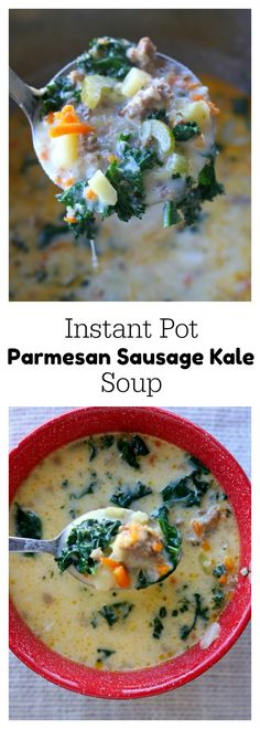 Instant Pot Parmesan Sausage Kale Soup–A creamy and comforting soup that is full of flavor thanks to loads of Parmesan cheese and Italian sausage. Good thing this recipe makes a lot because everyone will be asking for seconds! Instant Pot Pressure Cooker, Pressure Cooker Recipes, Pressure Cooking, Slow Cooking, Cooking Games, Crockpot Recipes, Soup Recipes, Cooking Recipes, Recipies