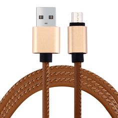 [$1.66] 1m PU Leather Knitting Metal Head 90 Cores Micro USB to USB 2.0 Data / Charger Cable for Samsung, HTC, Sony, Lenovo(Brown)