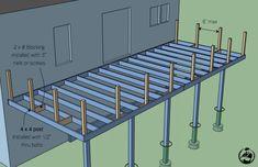 diy Deck How to Build an Attached Deck Wood Deck Designs, Second Story Deck, Deck Building Plans, Wood Deck Plans, Laying Decking, Trex Decking, Outdoor Decking, Raised Deck, Deck Construction
