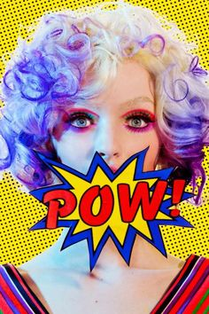 Pop She Goes Nail Art | Vibrant Neon Pop Art Nails, Bright Makeup, Comic Nails, Cartoons, Andy Warhol, Roy Lichtenstein, French Manicure, Polka dots, Pink Eyeshadow, Purple and White Hair, Pow!, Photo Shoot | Nail It! Magazine