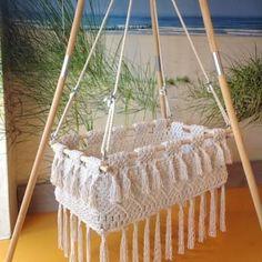 Ibiza hanging cradle : Ibiza hanging cradle, 1 only! Ibiza hanging cradle : Ibiza hanging cradle, 1 only! Hanging Bassinet, Hanging Cradle, Hanging Crib, Macrame Hanging Chair, Macrame Curtain, Macrame Art, Macrame Design, Diy Hanging, Macrame Projects