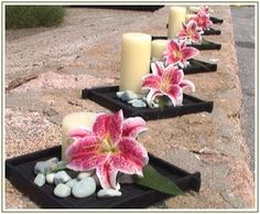 Surround this with some tea lights and this is a very chic and inexpensive centerpiece for a budget friendly reception afforable-elegance