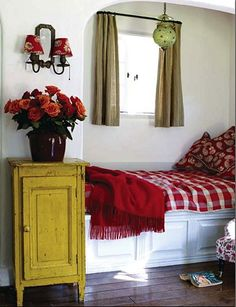 cozy little nook. Built in bed/window seat. Alcove Bed, Bed Nook, Cozy Nook, Bedroom Nook, Cozy Corner, Cozy Bed, Mustard Bedding, Red Bedding, Luxury Bedding