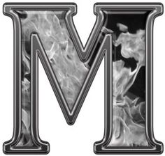 Reflective Letter M with Inferno Gray Flames