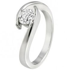 Elegant swirl tension setting ring