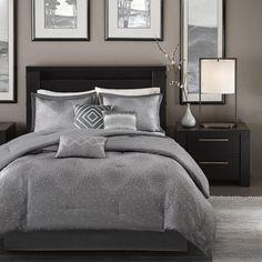 Contemporary Jacquard Bedding 7 Piece Comforter Set Bed In a Bag Shams Pillows…