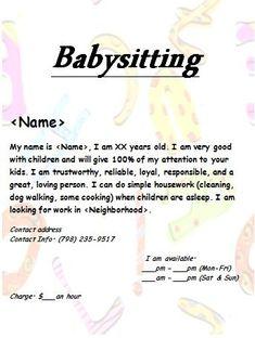 Babysitter Flyer, # Babysitting # Flyer, - My CMS Babysitting Bag, Babysitting Flyers, Babysitting Activities, Infant Activities, Family Activities, Summer Activities, Babysitter Printable, Babysitter Checklist, Babysitter Notes